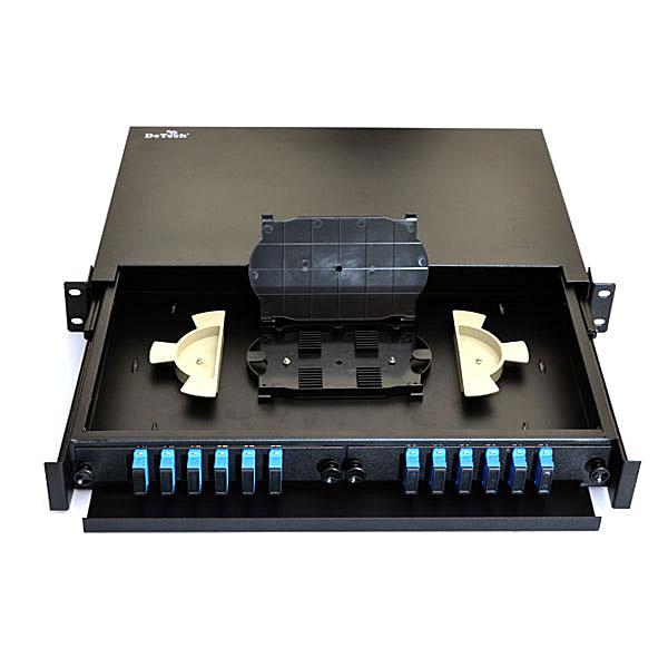 Патч-панель выдвижная, оптическая, 48 портов на 12 адаптеров LC Quad, 1U.